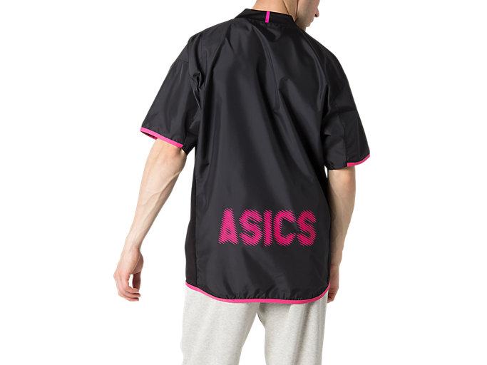 Back view of ハンソデウオームアップシャツ, パフォーマンスブラック×ピンクグロー