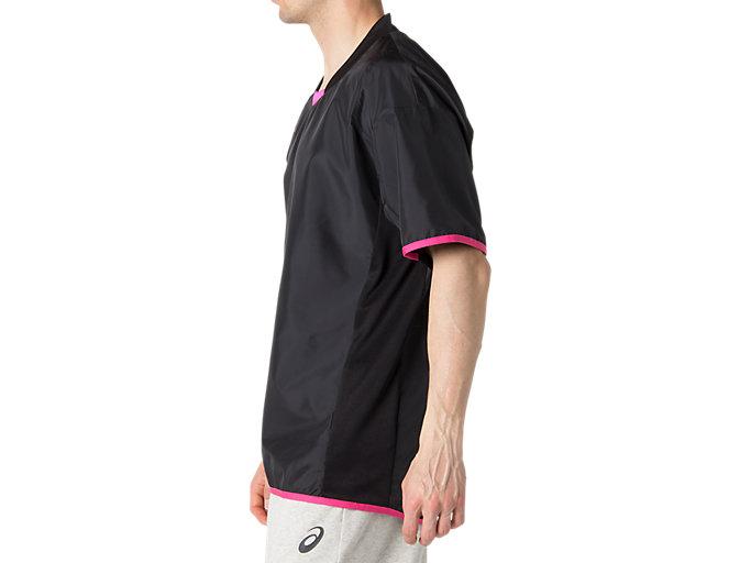 Side view of ハンソデウオームアップシャツ, パフォーマンスブラック×ピンクグロー