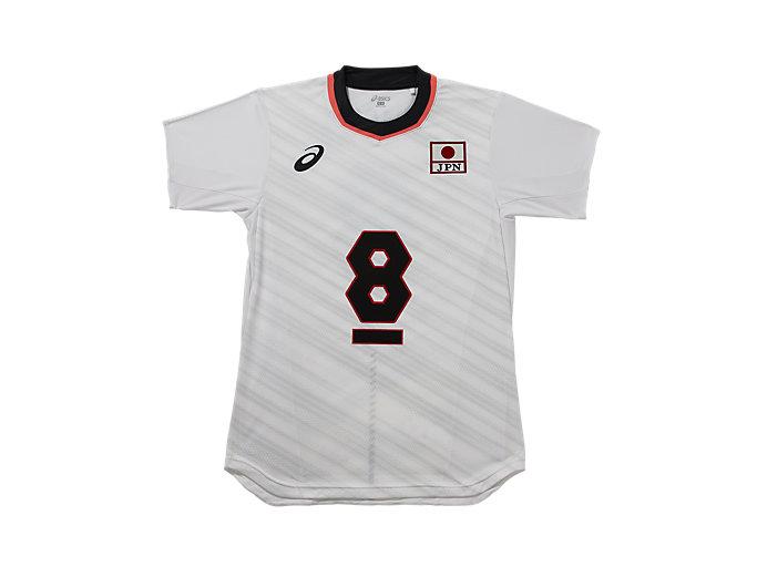 Front Top view of VB男子日本代表 オーセンティックシャツ, ホワイトxヤナギダ