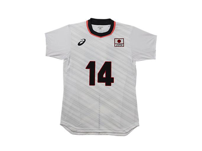 Front Top view of VB男子日本代表 オーセンティックシャツ, ホワイトxイシカワ