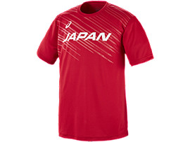 Front Top view of VB男子日本代表 応援Tシャツ, Vレッド
