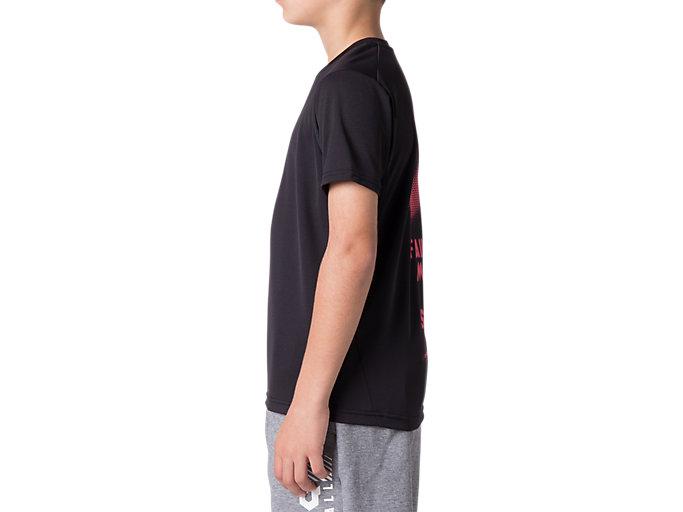 Side view of Jr.クールショートスリーブトップ, パフォーマンスブラック×レーザーピンク