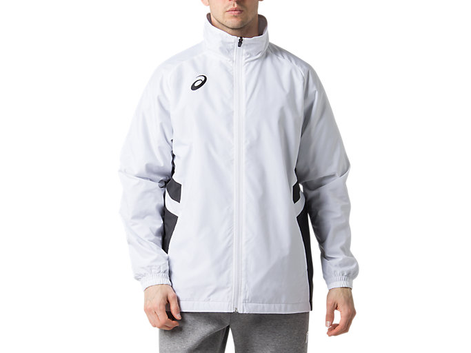 Front Top view of ウオームアップジャケット, ブリリアントホワイト×パフォーマンスブラック
