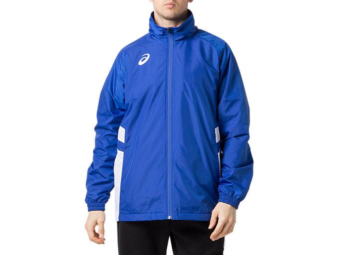 Front Top view of ウオームアップジャケット, アシックスブルー×ブリリアントホワイト