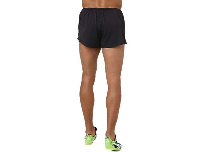Back view of KNIT SHORT, PERFORMANCE BLACK/HAZARD GREEN