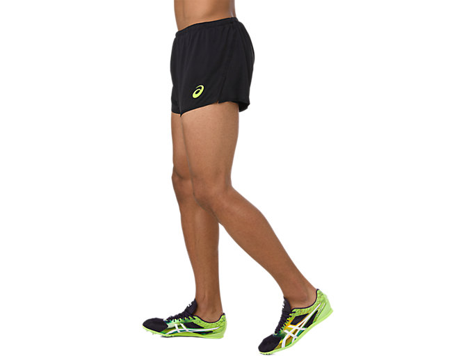 Side view of KNIT SHORT, PERFORMANCE BLACK/HAZARD GREEN