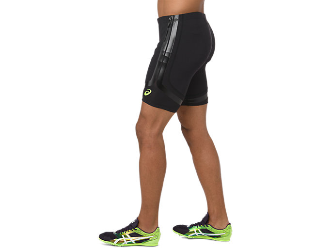Side view of MOVING SPRINTER TIGHT, PERFORMANCE BLACK/HAZARD GREEN