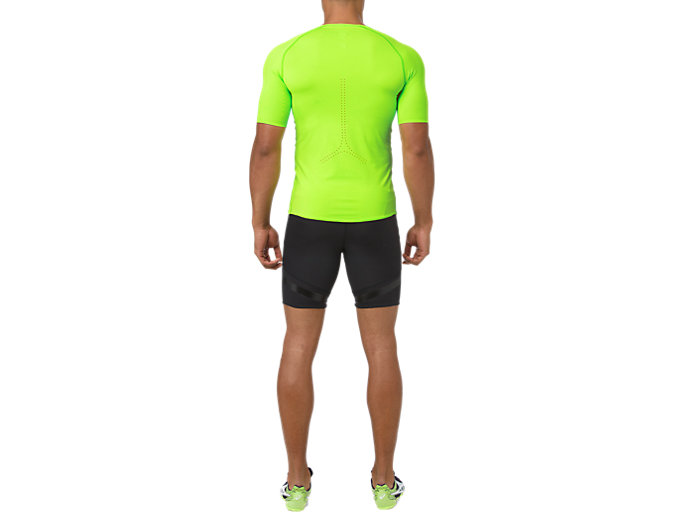Back view of MOVING SPRINTER TIGHT, PERFORMANCE BLACK/HAZARD GREEN