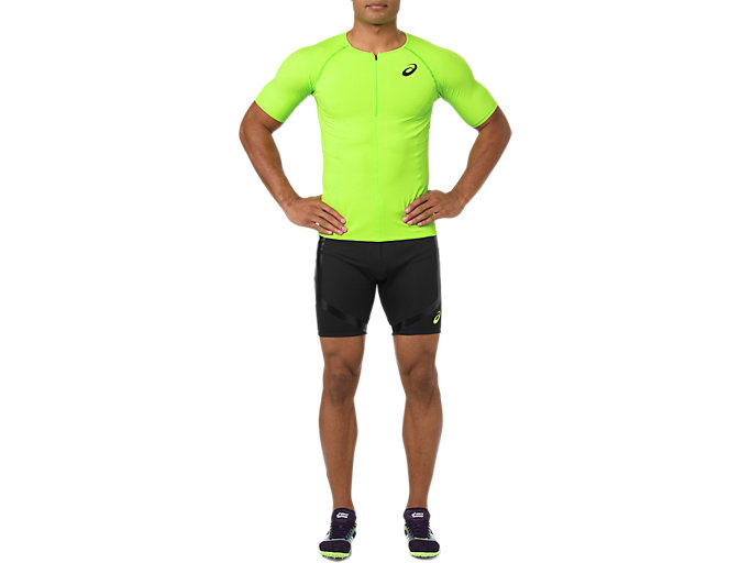 Front Top view of MOVING SPRINTER TIGHT, PERFORMANCE BLACK/HAZARD GREEN