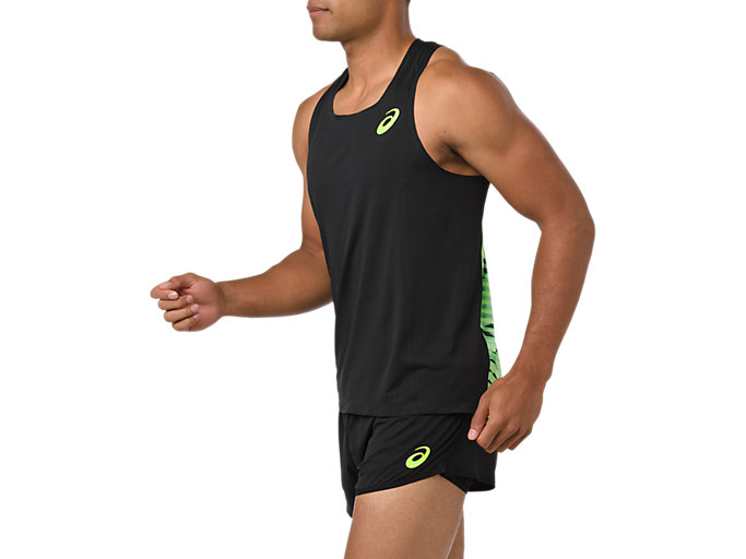 Side view of SINGLET, PERFORMANCE BLACK/HAZARD GREEN