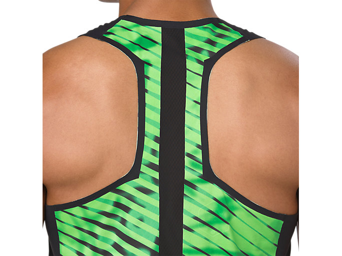 Alternative image view of SINGLET, PERFORMANCE BLACK/HAZARD GREEN