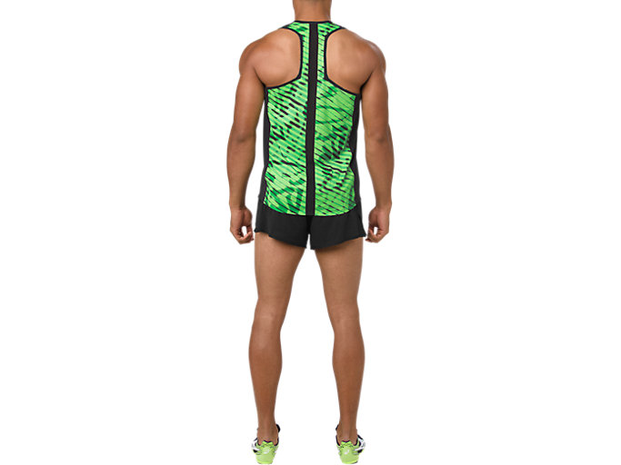 Back view of SINGLET, PERFORMANCE BLACK/HAZARD GREEN