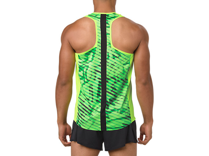 Back view of SINGLET, HAZARD GREEN