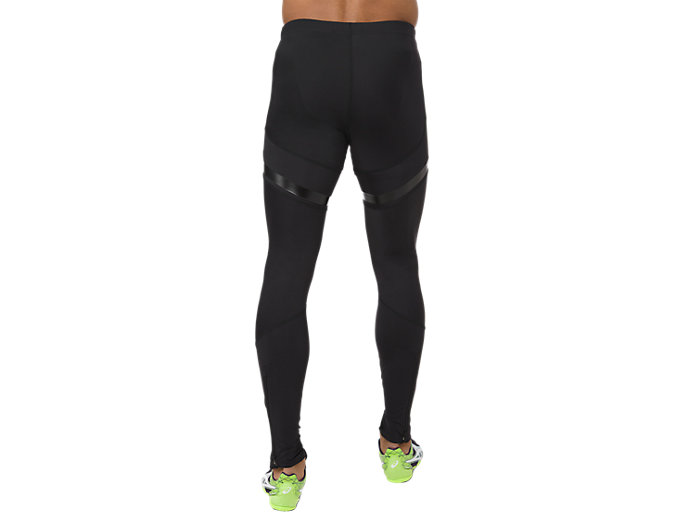 Back view of MOVING TIGHT, PERFORMANCE BLACK/HAZARD GREEN