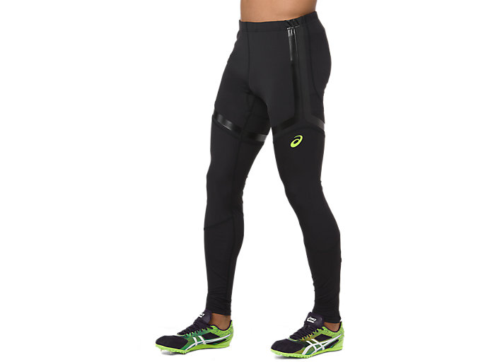 Side view of MOVING TIGHT, PERFORMANCE BLACK/HAZARD GREEN