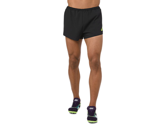 Front Top view of WOVEN SHORT, PERFORMANCE BLACK/HAZARD GREEN