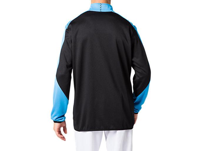 Back view of トレーニングジャケット, パフォーマンスブラック×ドルフィンブルー