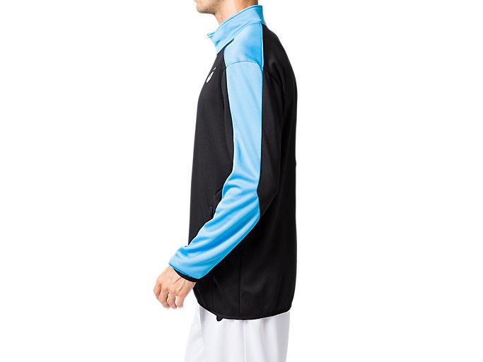 Side view of トレーニングジャケット, パフォーマンスブラック×ドルフィンブルー
