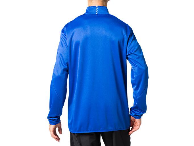 Back view of トレーニングジャケット, アシックスブルー