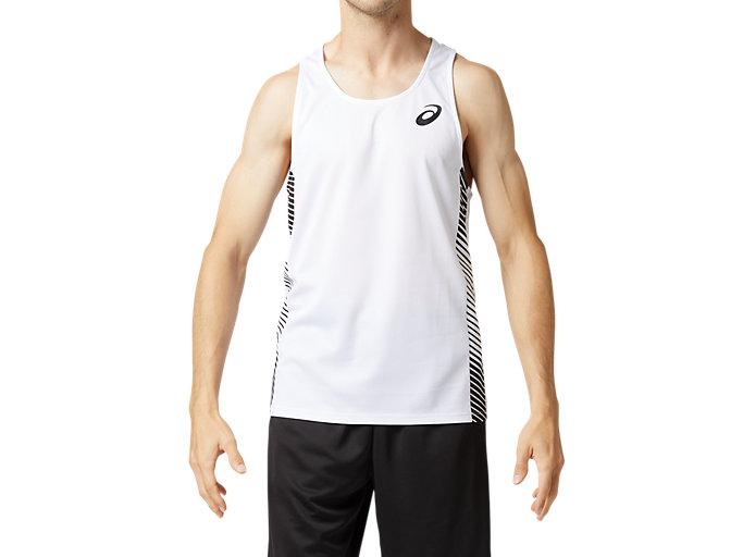 Front Top view of プラクティスランニングシャツ, ブリリアントホワイト