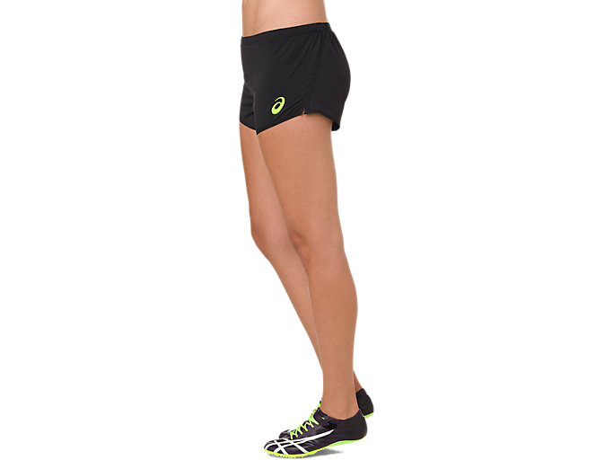 Side view of W'S KNIT SHORT, PERFORMANCE BLACK/HAZARD GREEN