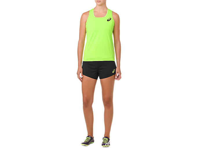 Front Top view of W'S KNIT SHORT, PERFORMANCE BLACK/HAZARD GREEN