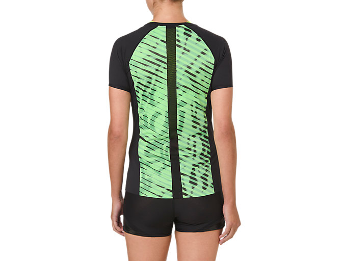 Back view of W'S MOVING SS TOP, PERFORMANCE BLACK/HAZARD GREEN