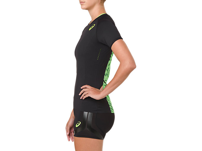 Side view of W'S MOVING SS TOP, PERFORMANCE BLACK/HAZARD GREEN