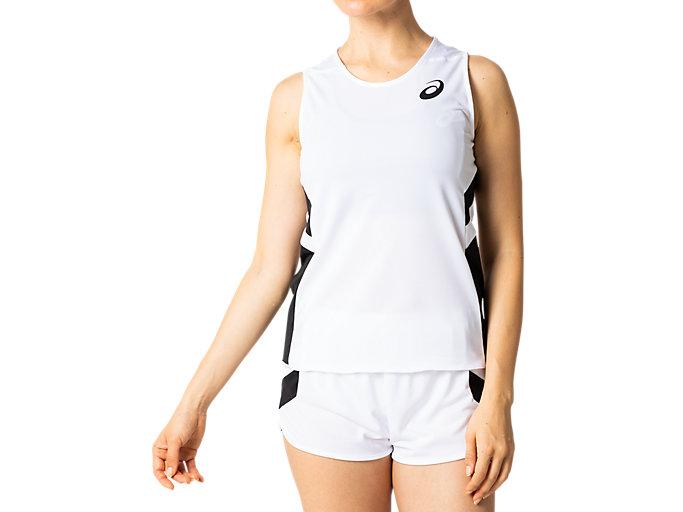 Front Top view of W'Sランニングシャツ, ブリリアントホワイト×パフォーマンスブラック