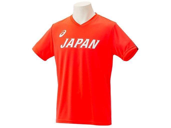 Front Top view of 日本代表応援Tシャツ, サンライズレッド