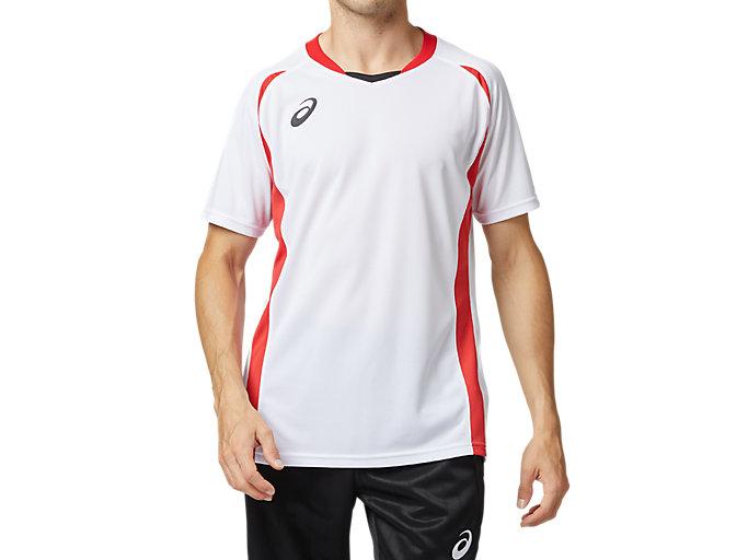 Front Top view of ゲームシャツ, ホワイトxクラシックレッド