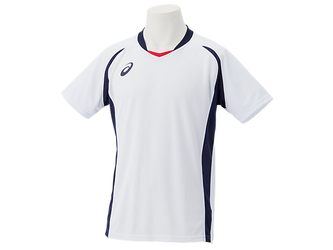 Front Top view of ゲームシャツ, ホワイトxピーコート