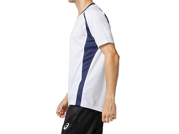 Side view of ゲームシャツ, ホワイトxピーコート