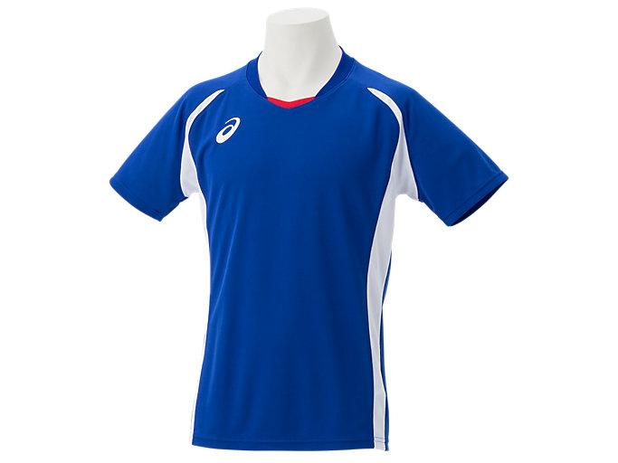 Front Top view of ゲームシャツ, アシックスブルー