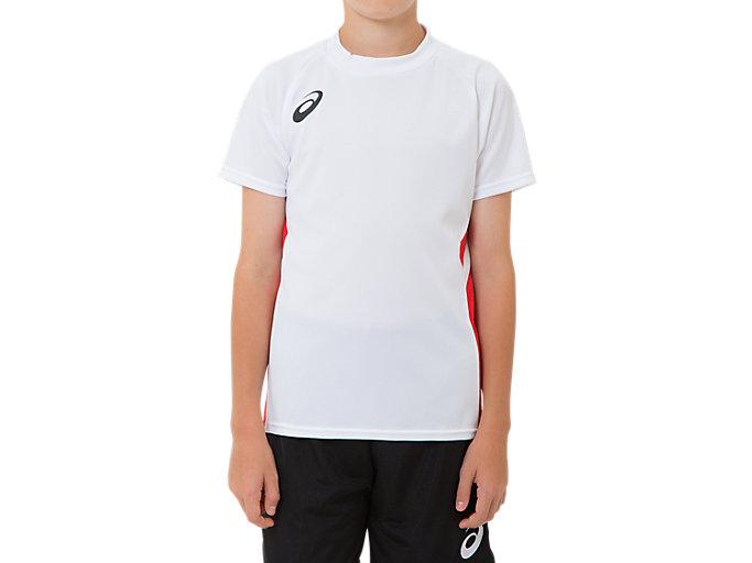 Front Top view of ジュニア ゲームシャツ, BホワイトxCR