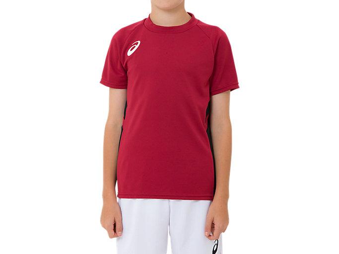 Front Top view of ジュニア ゲームシャツ, バーガンディ
