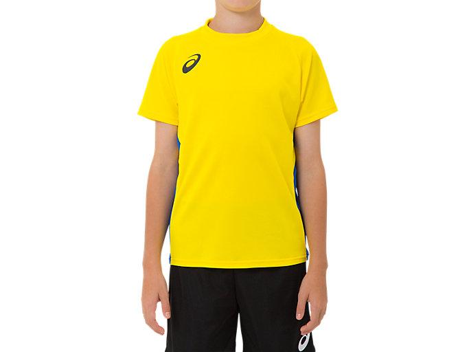 Front Top view of ジュニア ゲームシャツ, ブライトイエロー