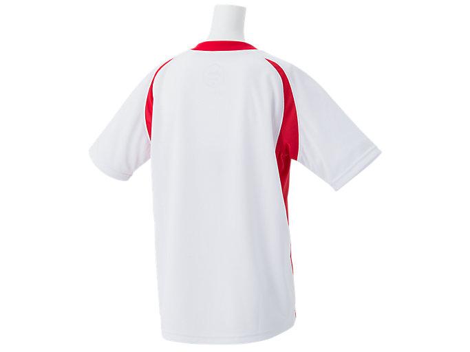Back view of Jr.ゲームシャツ, ホワイトxクラシックレッド