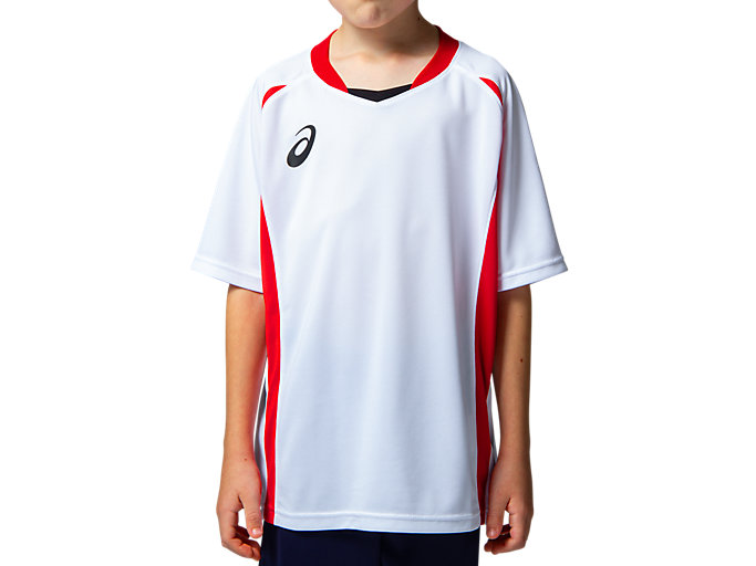 Front Top view of Jr.ゲームシャツ, ホワイトxクラシックレッド