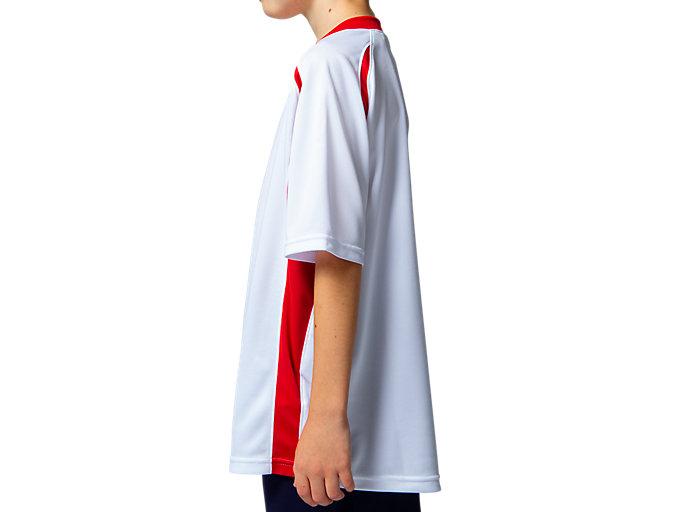 Side view of Jr.ゲームシャツ, ホワイトxクラシックレッド