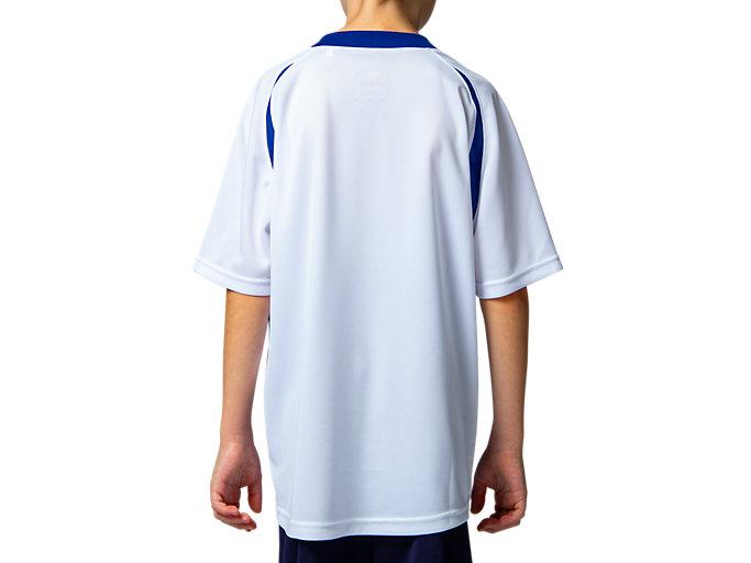 Back view of Jr.ゲームシャツ, ホワイトxアシックスブルー
