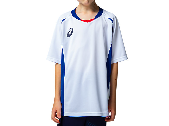 Front Top view of Jr.ゲームシャツ, ホワイトxアシックスブルー