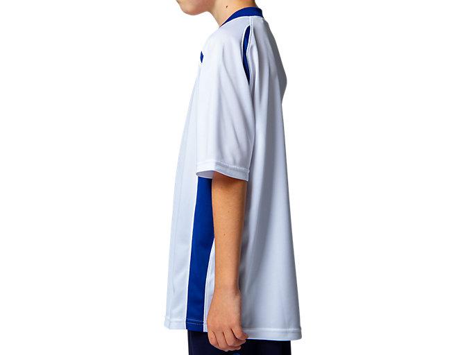 Side view of Jr.ゲームシャツ, ホワイトxアシックスブルー