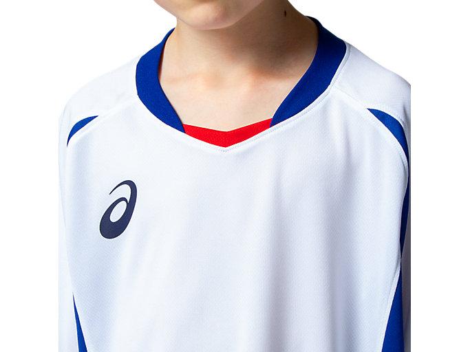 Alternative image view of Jr.ゲームシャツ, ホワイトxアシックスブルー