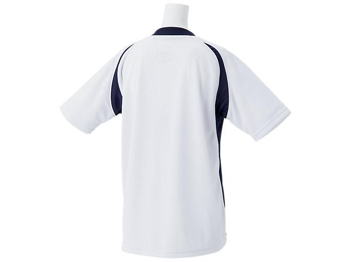 Back view of Jr.ゲームシャツ, ホワイトxピーコート