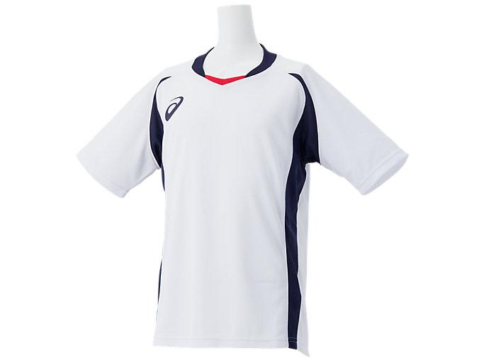 Front Top view of Jr.ゲームシャツ, ホワイトxピーコート