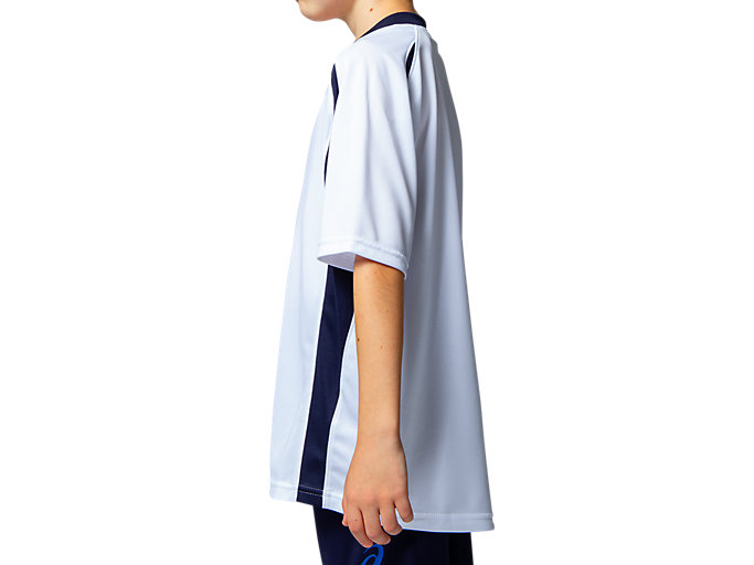 Side view of Jr.ゲームシャツ, ホワイトxピーコート