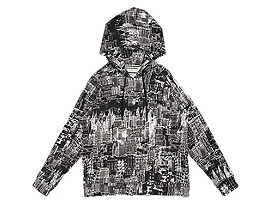 Front Top view of PRINTED HOODIE, PERFORMANCE BLACK/REAL WHITE