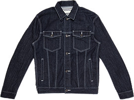 Front Top view of DENIM JACKET, PEACOAT