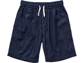 Front Top view of DENIM SHORT, INDIGO BLUE